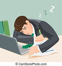 Tired man sleeping at desk. Businessman in suit fall asleep...