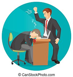 Angry businessman screaming at his worker. Man fall asleep...