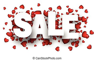 Sale background with red heart.