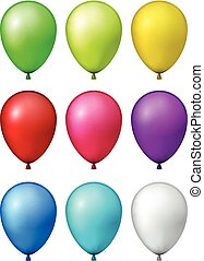 Set of realistic colorful balloons. - Set of realistic...