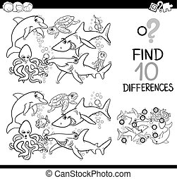 sea life difference activity - Black and White Cartoon...
