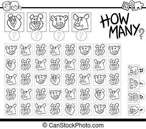 counting game for coloring - Black and White Cartoon...