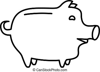Piggy bank or money box symbol. Thin line linear vector...