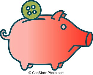 Sad Piggy bank or money box symbol. Thin line linear vector...