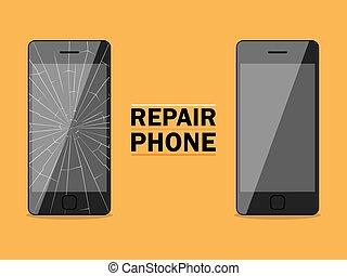 Phone repairs flat design sign. Vector illustration for...