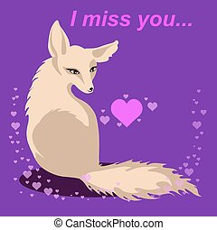 vector fox in love with words Miss you - St Valentines card...