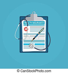 health insurance concept. Clipboard, pen and stethoscope....