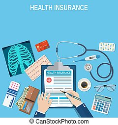 health insurance concept. - Man fills in the form of health...