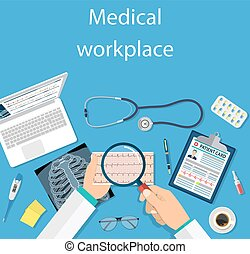 Top view of doctor workplace,