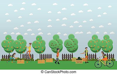 Harvesting and realization concept vector illustration in...
