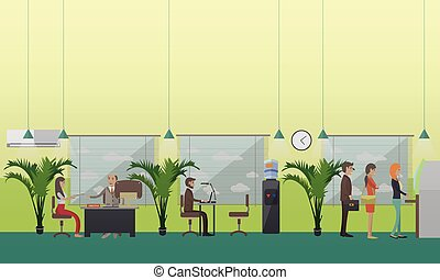 Vector illustration of bank office staff and clients, flat...