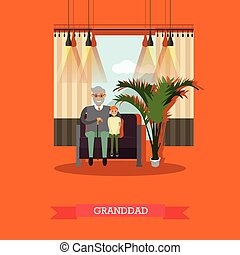 Vector illustration of granddad with his grandson sitting on...