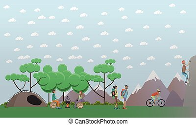 Hiking in mountains concept design element in flat style. -...