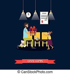 Vector illustration of volunteer giving gift to little girl...
