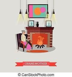 Vector illustration of grandmother sitting in armchair at...