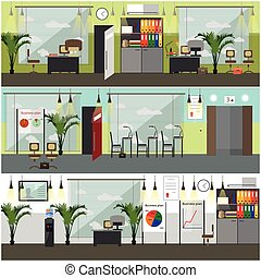 Office interior concept vector posters, banners in flat...