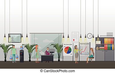 Office presentation concept vector illustration in flat style.