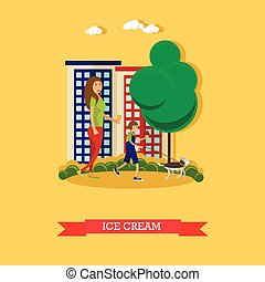 Vector illustration of mother, son eating ice cream, flat style