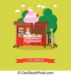 Vector illustration ice cream stall, salesgirl and buyer, flat style