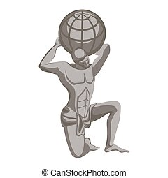 Atlas monument, greek mythology character. Titan condemned...