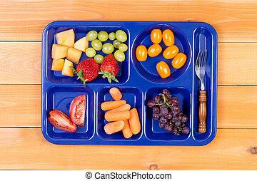 フォーク, 昼食, フルーツ, トレー, サンプラー