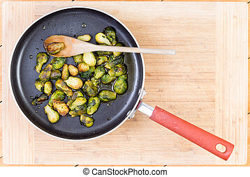 Brussel sprouts cooked in non-stick pan - Top down first...