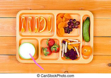 昼食, フルーツ, トレー, ミルク, サンプラー