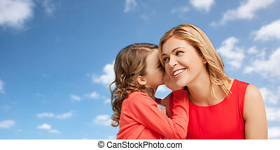 happy mother and girl whispering into ear - people, family...