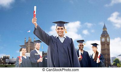 estudiantes, birretes,  diplomas, feliz