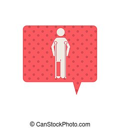 Patient with crutches icon vector illustration graphic...