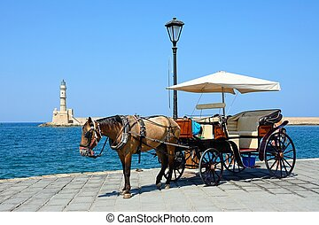 Horse drawn carriage, Chania. - Horse drawn carriage on the...