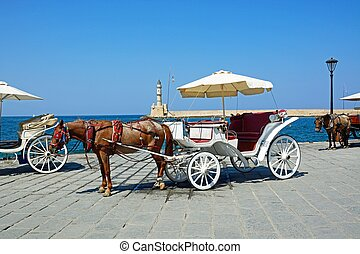 Horse drawn carriage, Chania. - Horse drawn carriages on the...