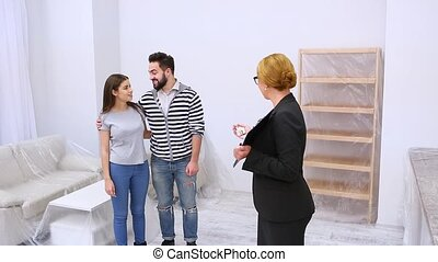 Real estate agent showing apartment or flat - Real estate...