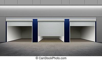 opened empty parking - modern empty parking on street of...