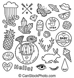 Black and white fashion patch badge elements in cartoon...