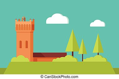 Summer Vacation Touristic Landscape Flat Vector - Summer...