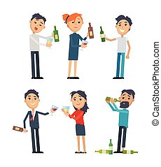 Drunk People with Alcohol Flat Vectors Set - Drunk people in...