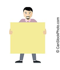 Poster Template with Empty Paper Sheet Flat Vector - Poster...