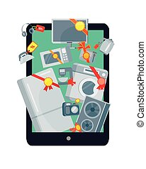 Big Sale in Electronics Store Vector Flat Concept - Big sale...