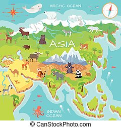 Asia Mainland Cartoon Map with Fauna Species - Asia mainland...