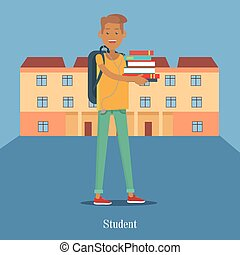 Student Stand with Book on Background of College - Student...