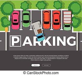 Parking Conceptual Web Banner. Car Park. Vector - Parking...