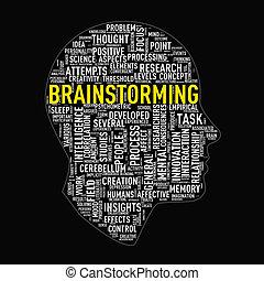 Human head wordcloud tags brainstorming