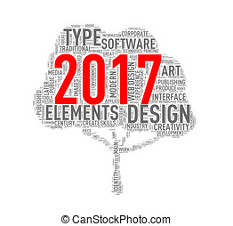 Tree shape wordcloud Year 2017