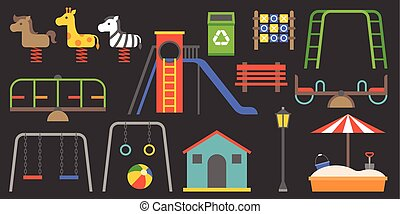 Big set of playground equipment vector illustration,...