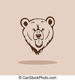 Grizzly bear head - Angry grizzly bear showing fangs and...