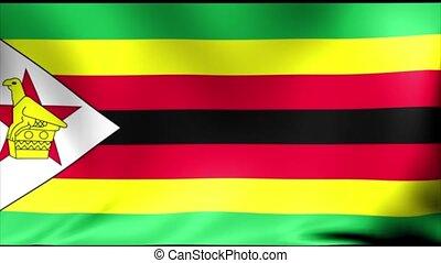 Zimbabwe Flag. Background Seamless Looping Animation. 4K...