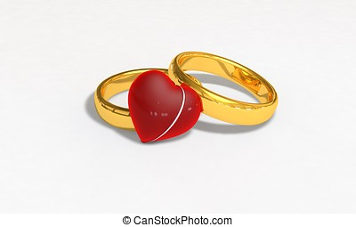 Valentine's Day heart and ring gift 3d illustration