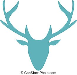 One blue silhouette deer on white background.