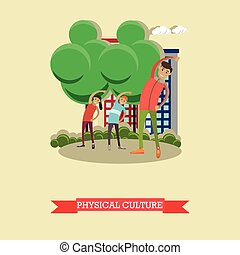Physical education lesson concept vector illustration in flat style.